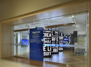 View of entrance to exhibit of historic documents including Bill of Rights at the Constitution Center Philadelphia