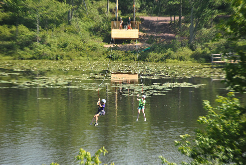 New zip line at Girl Scout Camp in Eastern Pennsylvania camp site