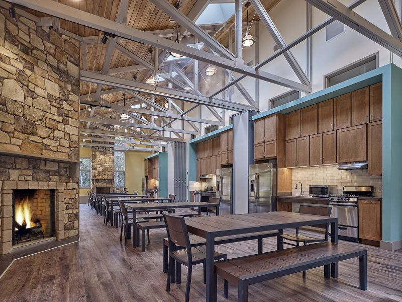 New year-round multipurpose lodge features state of the art so room can be partitioned into three separate functional spaces