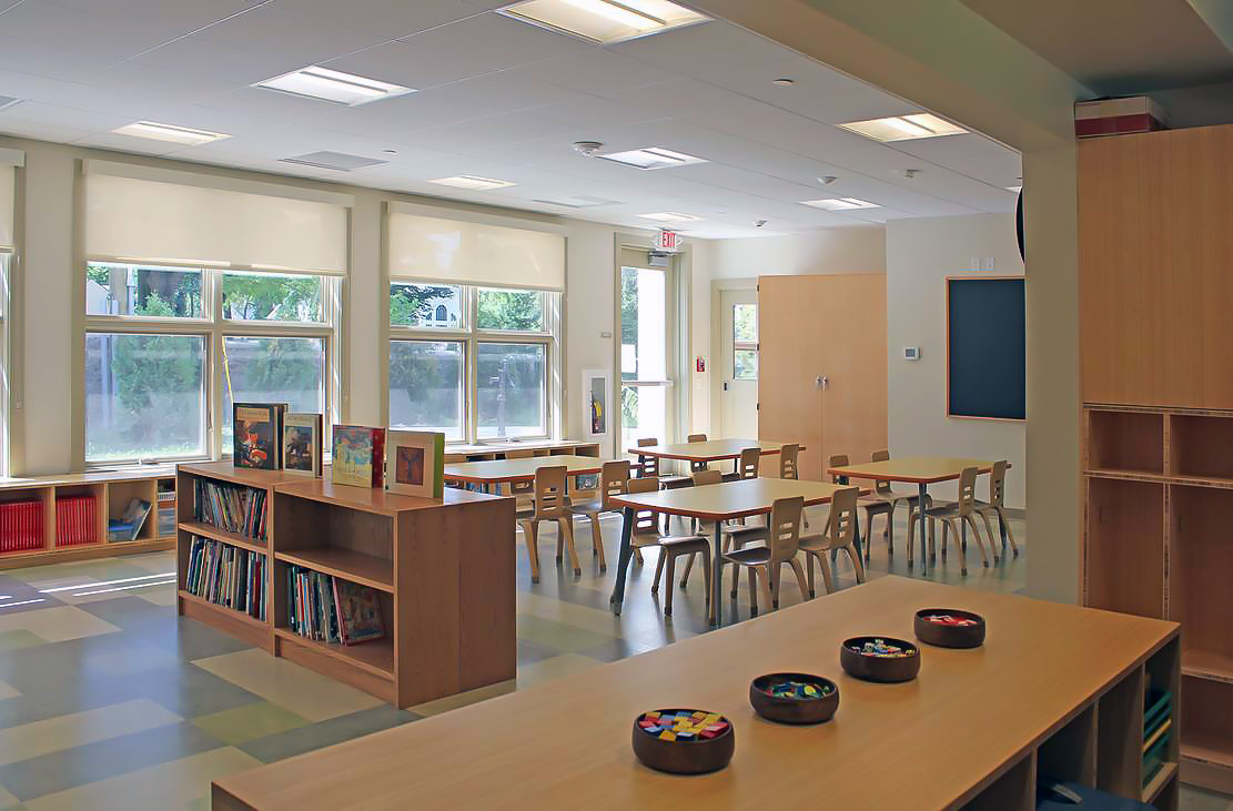 interior of classroom in new building at Plymouth Meeting Friends School