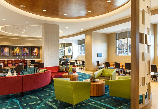 SpringHill Suites Lobby area after renovation