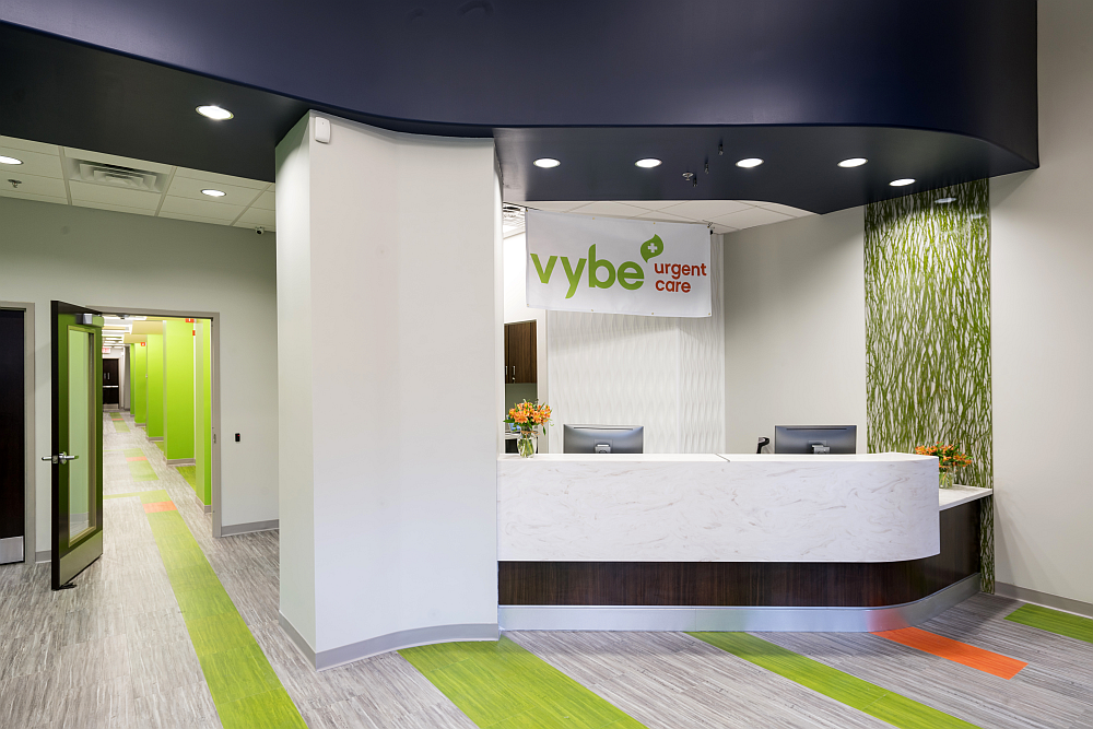 interior of reception desk at helathcare urgent care center - vybe