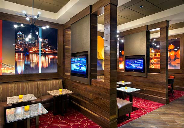 image of booth seating inside the Aviation Grill inside the Marriott
