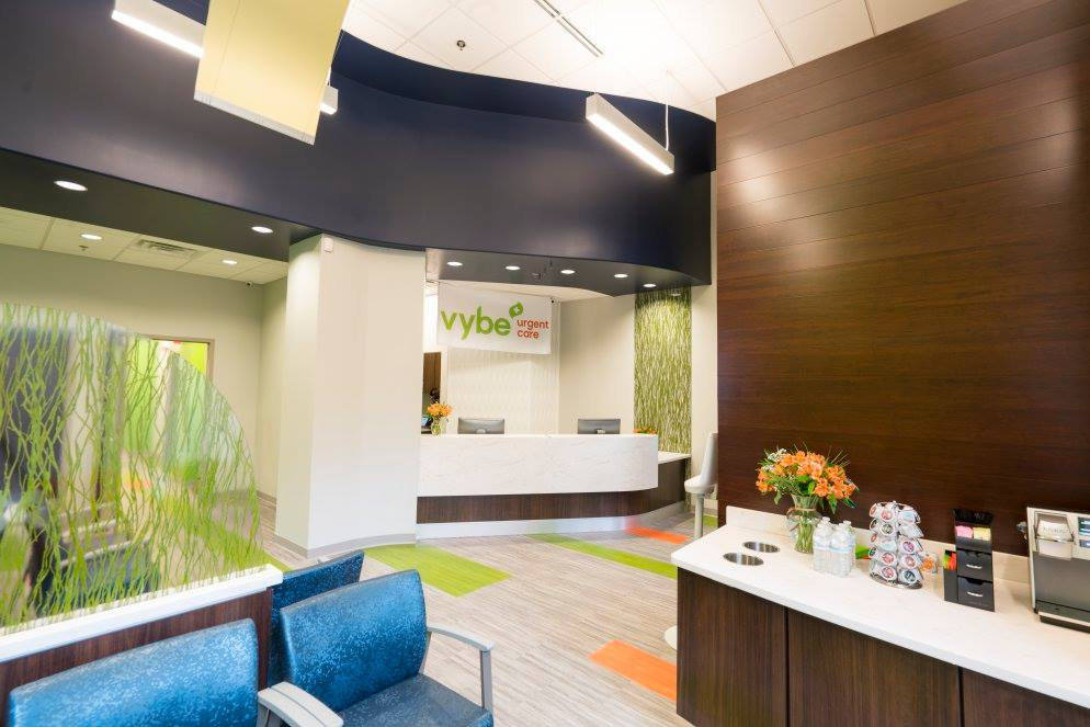 interior reception desk at renovated new office space urgent care center
