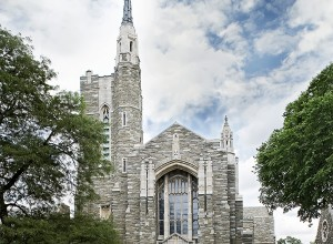 Exterior view of Bryn Marw Presbyterian Church's renovated steeple, spire and masonry
