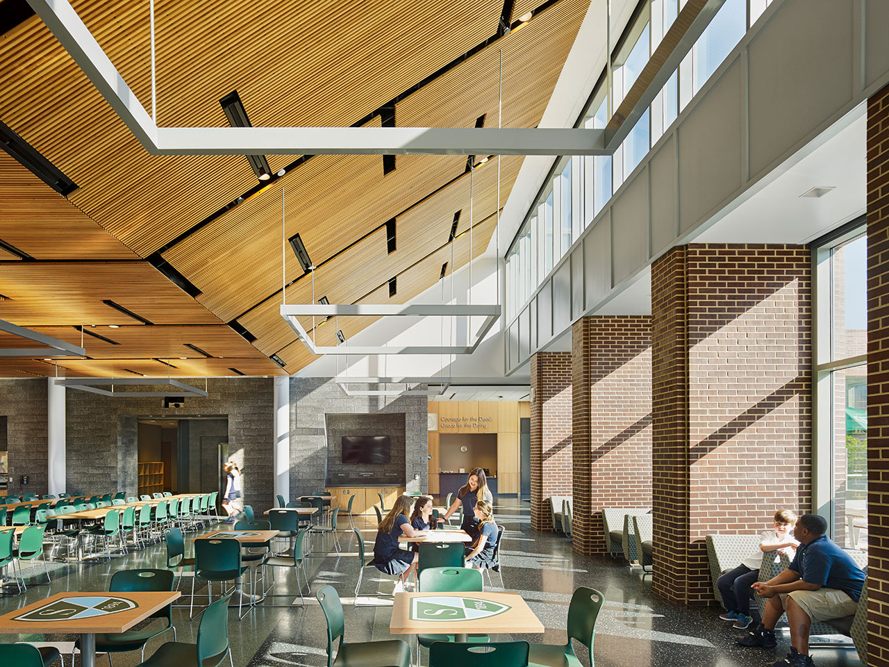 new campus building Shipley Commons, interior of the cafeteria