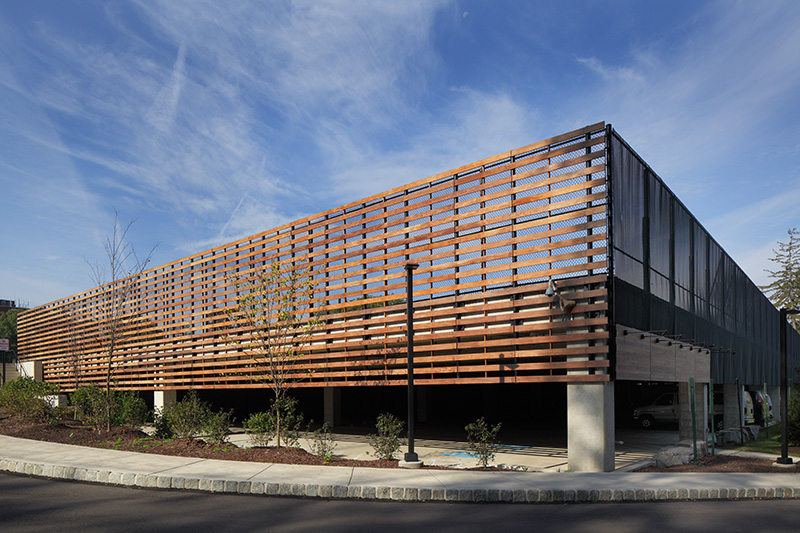 Exterior of parking structure and tennis courts designed by CBJ architects