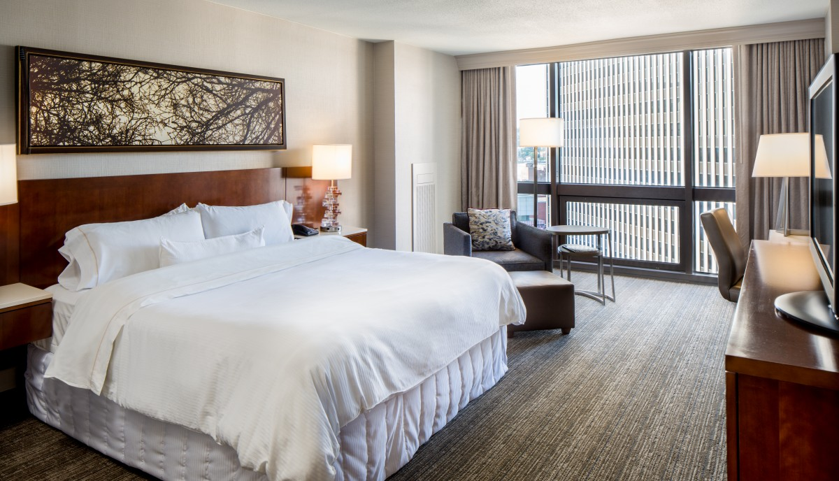 Interior image of single King guest room at newly renovated Westin Cincinnati