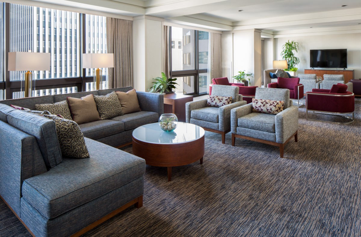 Interior image of a renovated hotel suite or common area at newly renovated Westin Cincinnati