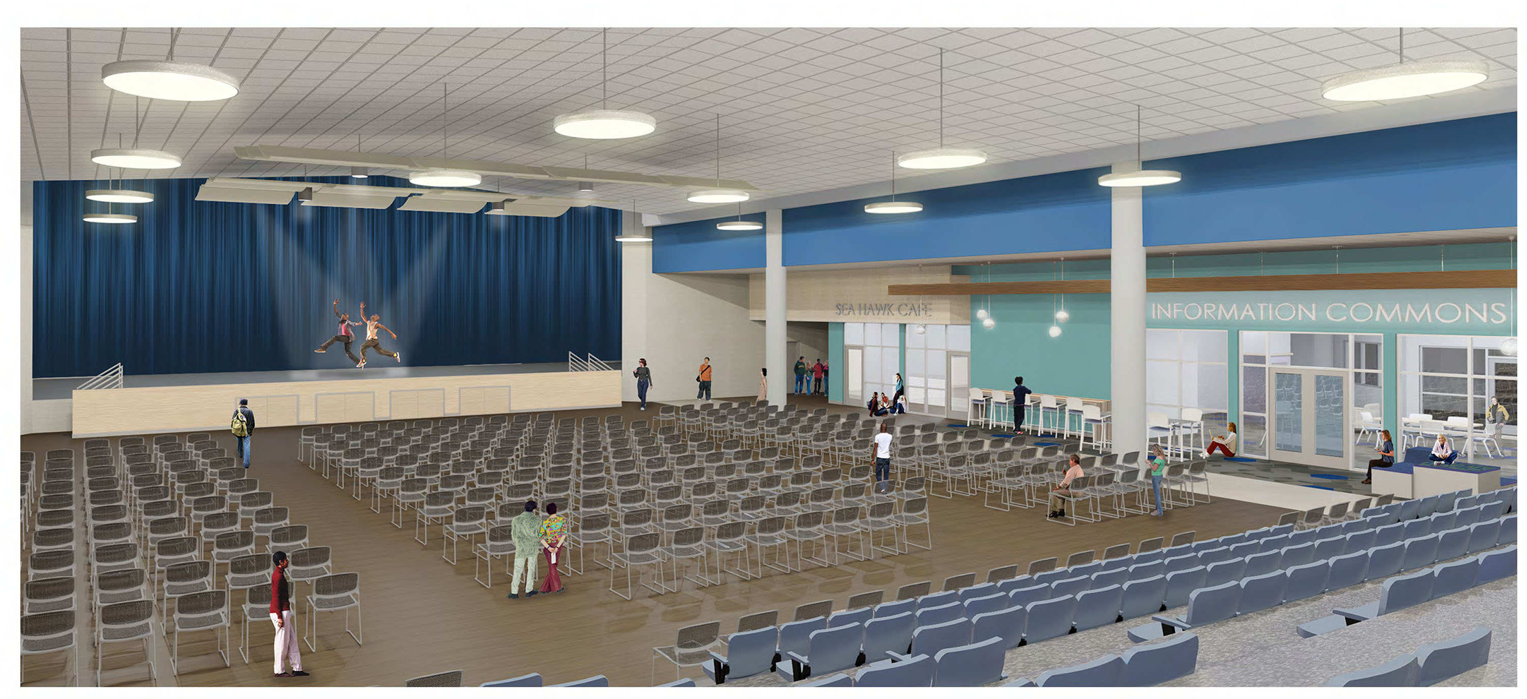 rendering of multi-use Cafeteria and Auditorium