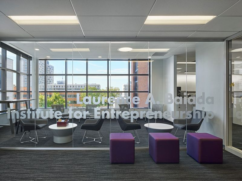 Interior image of Drexel University's Baiada Institute fit-out open space with seating for students