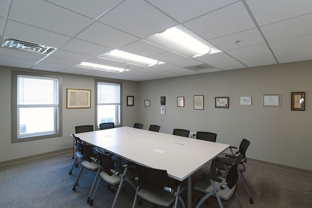 Renovated tenant fit-out of conference room in office fit-out project at junior league headquarters